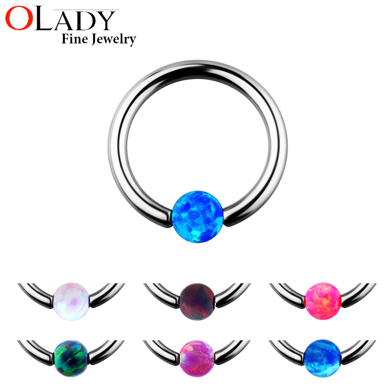 Septum Piercing Opal Stone Closure [100% Titanium] Nipple Lip Tragus Eyebrow Earring Nose Rings Body Jewelry