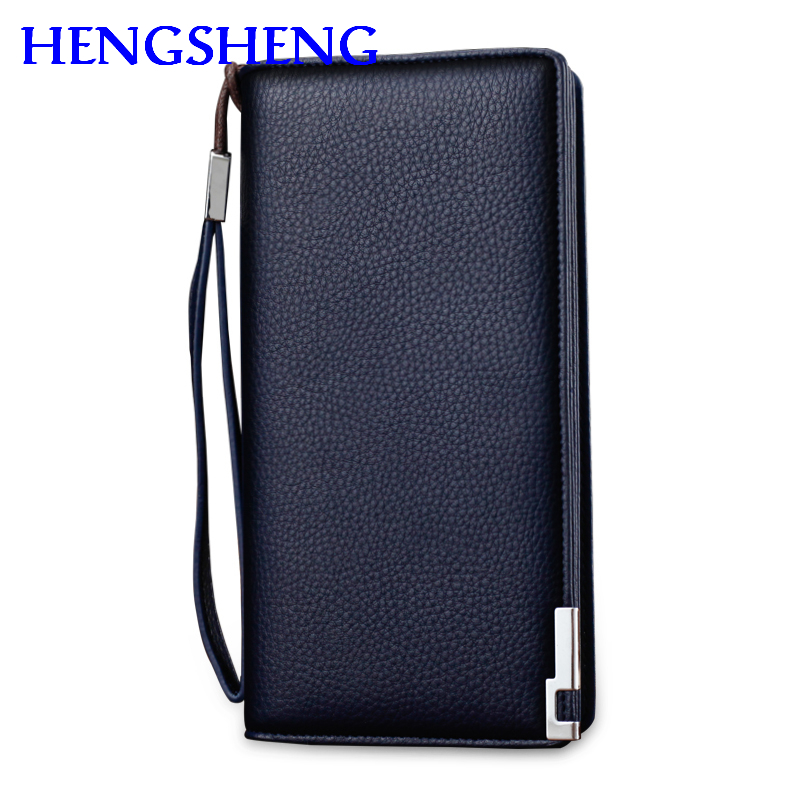 Free shipping HENGSHENG fashion blue long men wallet for not compartment male hand wallet of leather boy men leather hand wallet