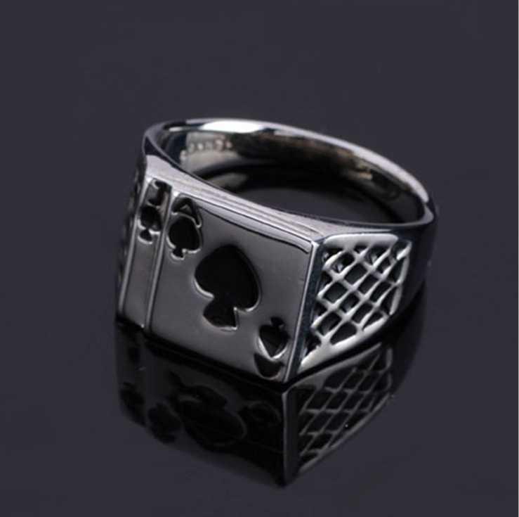 FUNIQUE 2018 мужское кольцо, ретро стиль, пики в форме сердца, кольца с изображением покера для мужчин, ювелирное изделие, Серебряное мужское кольцо