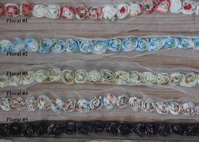 20y 1,5 см шикарный принт Шифоновый Цветок розы отделка для ремесел повязки на голову аксессуары для одежды