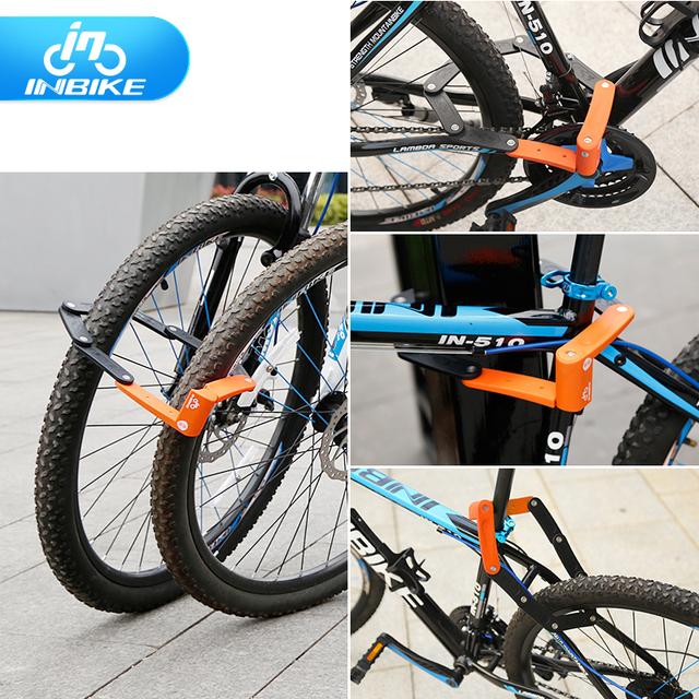 INBIKE Bike Lock Anti-cut Bicycle MTB Lock Anti-theft Alloy Steel Foldable Motorcycle Lock 12ton Anti-hydraumatic D906