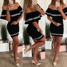 Sexy Off Shoulder Bardot Bodycon Mini Dress Women Summer Short Ruffle Sleeve Striped Party Dresses