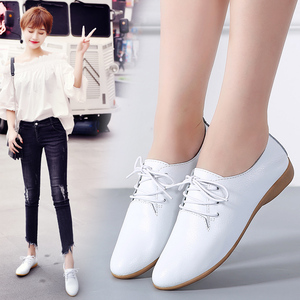 Image 5 - STQ 2020 Autumn Women Oxford Shoes Ballerina Flats Shoes Women Leather Shoes Ladies Lace Up Loafers Moccasins White Shoes 130
