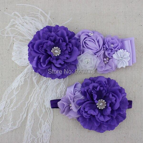 1set purple white lilac flower girl sash matching headband fabric peony  chiffon flower sash Newborn photography props 4037839ef3f