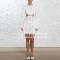 Ziwwshaoyu Новое дизайнерское подиумное Платье женское Высокое качество сексуальное ажурное вышитое платье с длинными рукавами праздничное пл