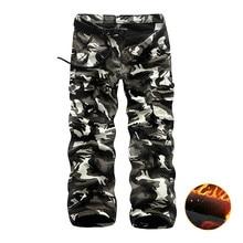 Зимние теплые флисовые брюки-карго Для мужчин Повседневное свободные нескольких карман брюки Для мужчин камуфляж армия трек тактические брюки мужские костюмы