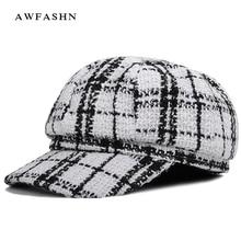 Новинка, модные Восьмиугольные шляпы, высокое качество, клетчатые полосы, газетная шапка, Осень-зима, повседневная Кепка для женщин и мужчин, шапка для художника, Черная