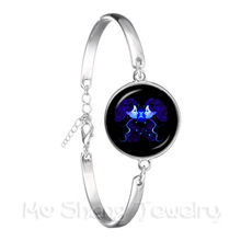 2018 Fashion Bracelet Galaxy Constellation Design 12 Zodiac Sign Horoscope Astrology Silver Plated Bangle For Women(China)