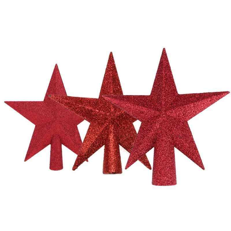 574f666d57ee ... Hoomall Glitter Stars Christmas Tree Top Sparkle Red/Gold/Silver Star  Xmas Ornaments Topper ...