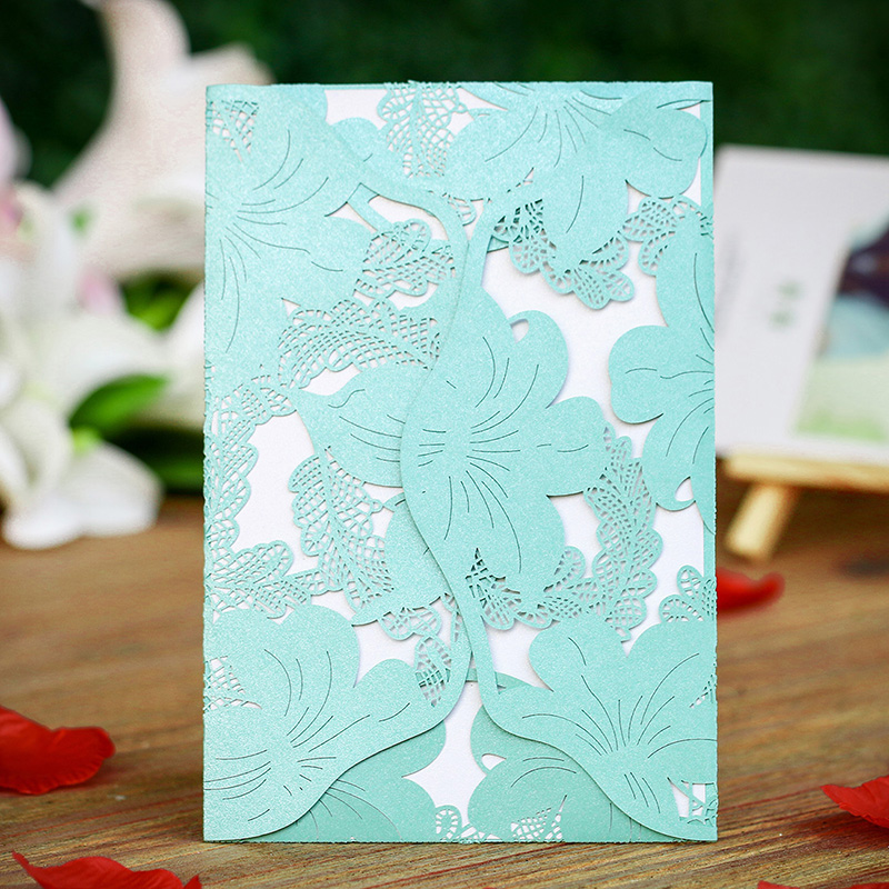 Wedding Invitation Card Paper: 12PCS/lot Tiffany Blue Laser Cut Flower Wedding Invitation