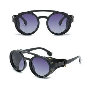 Image 5 - 2019 החדש רטרו וינטג עגול מקוטב פאנק Steampunk משקפי שמש לגברים עור צד מגן זכר שמש משקפיים PL1122