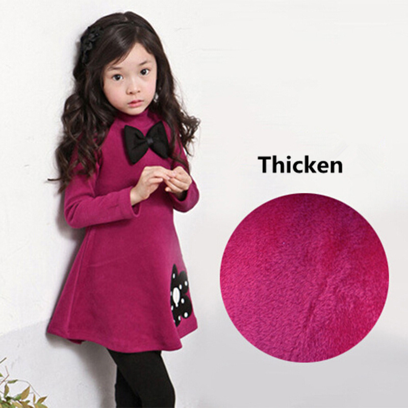 2018 New Fashion Baby Girls Dress Spring Winter Cotton Cashmere Dress Thicken Long Sleeve Toddler Girl Dresses Princess Costume princess girls dress 2017 new fashion spring winter children long sleeve cartoon baby girl cotton party dresses for kids f2 18h