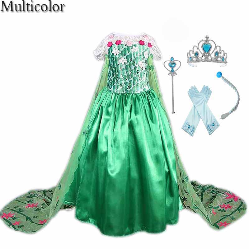 Green Shawls Mopping Custom Anna&Elsa Girls Princess Dress Kids Girl Vestidos Baby Children Cosplay Dress Pincess Party Dresses
