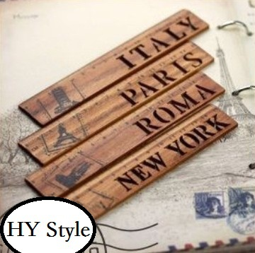 1pcs/lot  Exquisite Vintage Hollow City Name Wooden Straight Ruler For School Gift Bookmark Office Supply  4 Dseign
