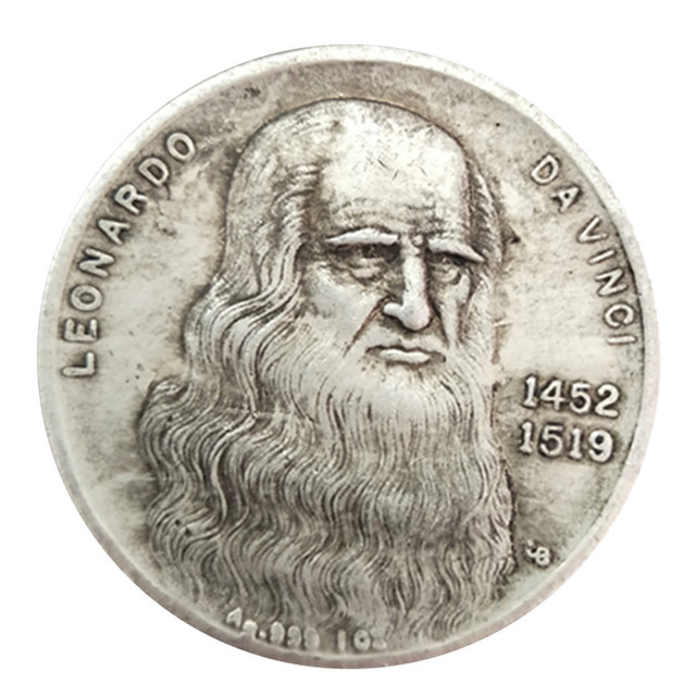 1 unid Leonardo da Vinci moneda conmemorativa antigüedades artesanía imitación plata Da Vinci moneda colección conmemorativa Decoración para el hogar