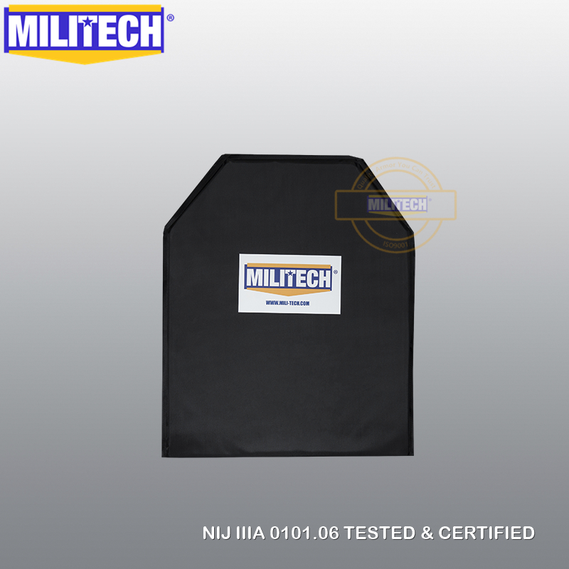 MILITECH 11'' X 14'' Shooters Cut Aramid Bulletproof Ballistic Plate + Level2 Stab Resistant Body Armor NIJ Level 3A NIJ 0115.00