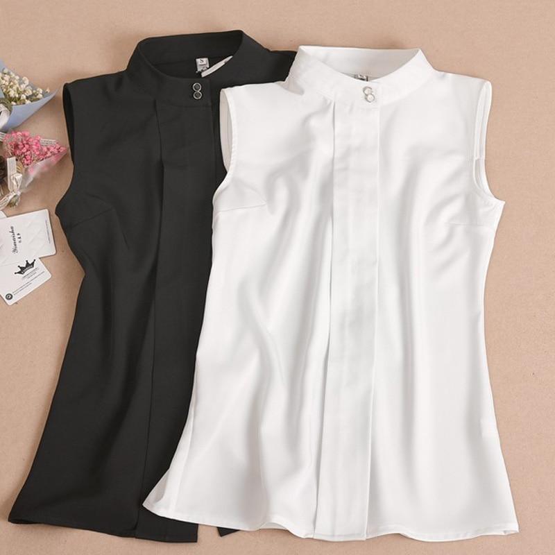 High-grade Bead Shirt Fake Collar Shirt Female Bead Turn Down Detachable Collar Slender Chiffon Women's Sleeveless Shirt Collar