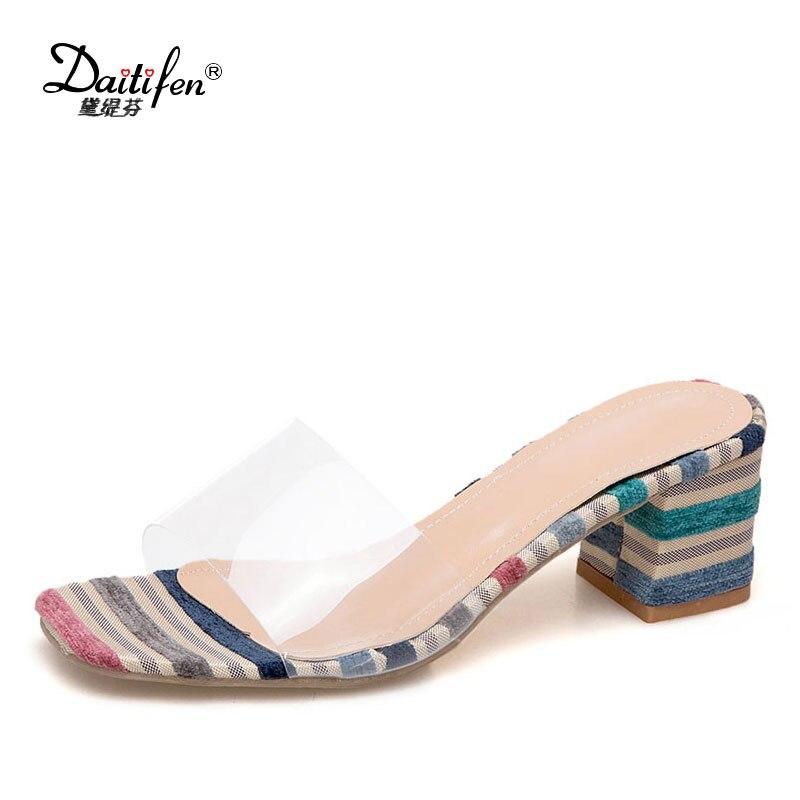Daitifen женские на высоком блочном каблуке тапочки летние сабо сандалии в сдержанном стиле смешанный цвет прозрачный ремень офисные дамы форм...