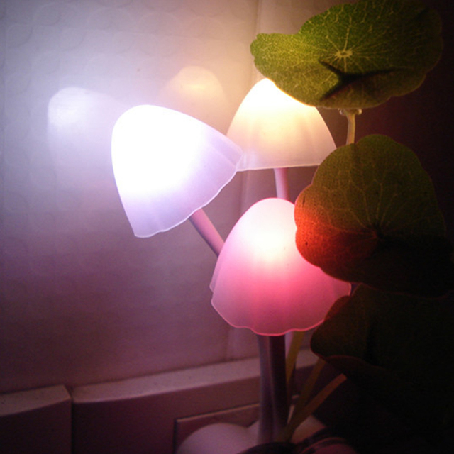 1pcs Novelty US U0026 EU Plug Led Night Light Induction Dream Mushroom Fungus 3  LEDs Lamp