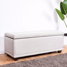 Giantex 40 «хранения Османской скамейке один пуфик Подножие линии поверхности сиденья поле серый Гостиная мебель HW57501GR