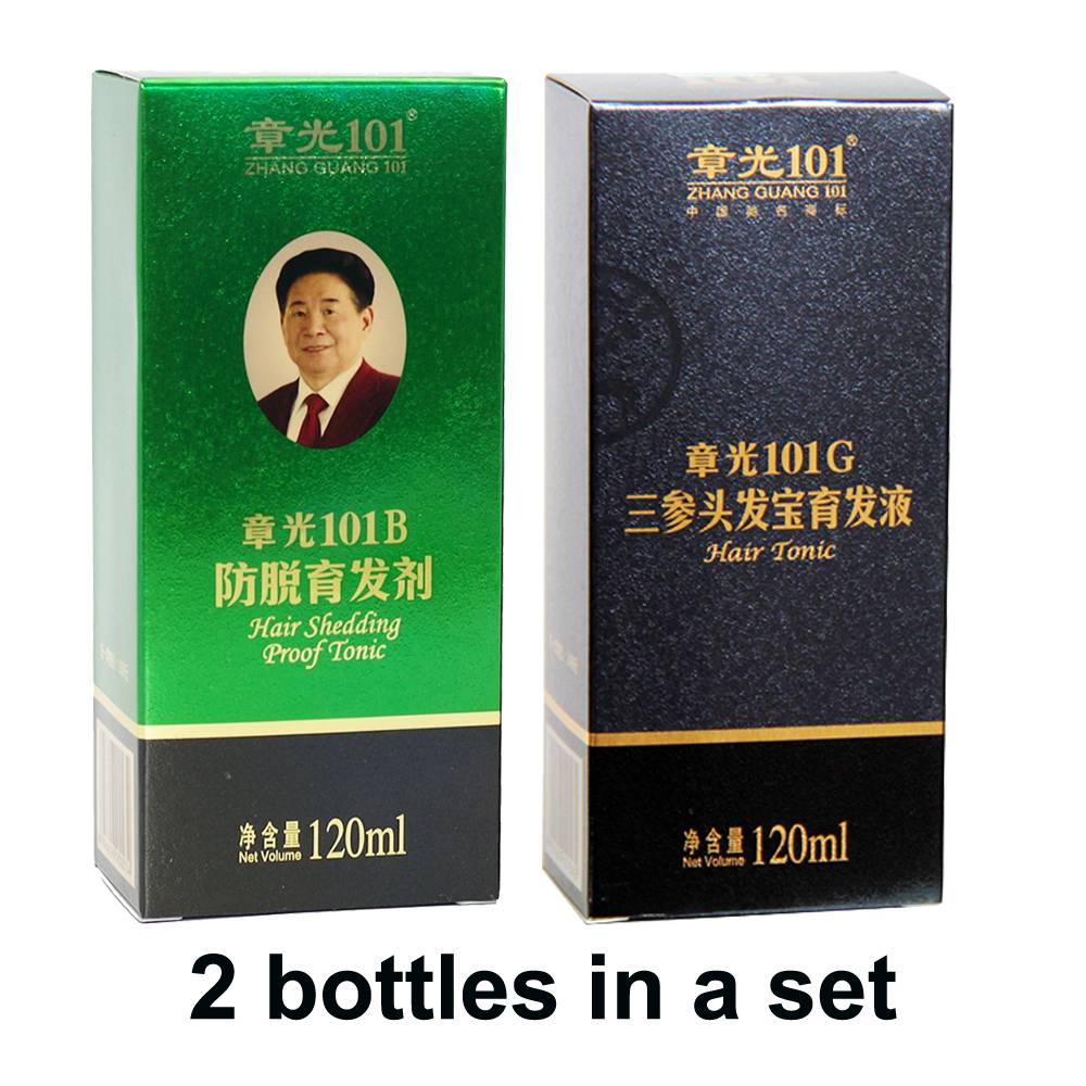 цена на World famous wholesale Zhangguang 101B + 101G, 2 pieces in a lot Anti hair loss Hair Regrowth sets 100% original 101 hair care