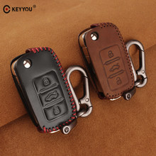 4dd4bdf327d8 KEYYOU Genuine Leather Key Cover Case For VW Volkswagen Jetta MK6 Tiguan  Golf 4 5 6 Polo Bora Passat B5 B6 Key Bag key cover