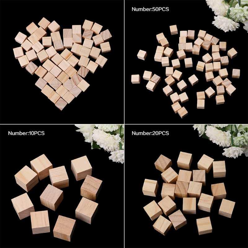 10/25/25 Mm Kayu Blok Persegi Mini Batu Perhiasan untuk Kayu Kerajinan DIY