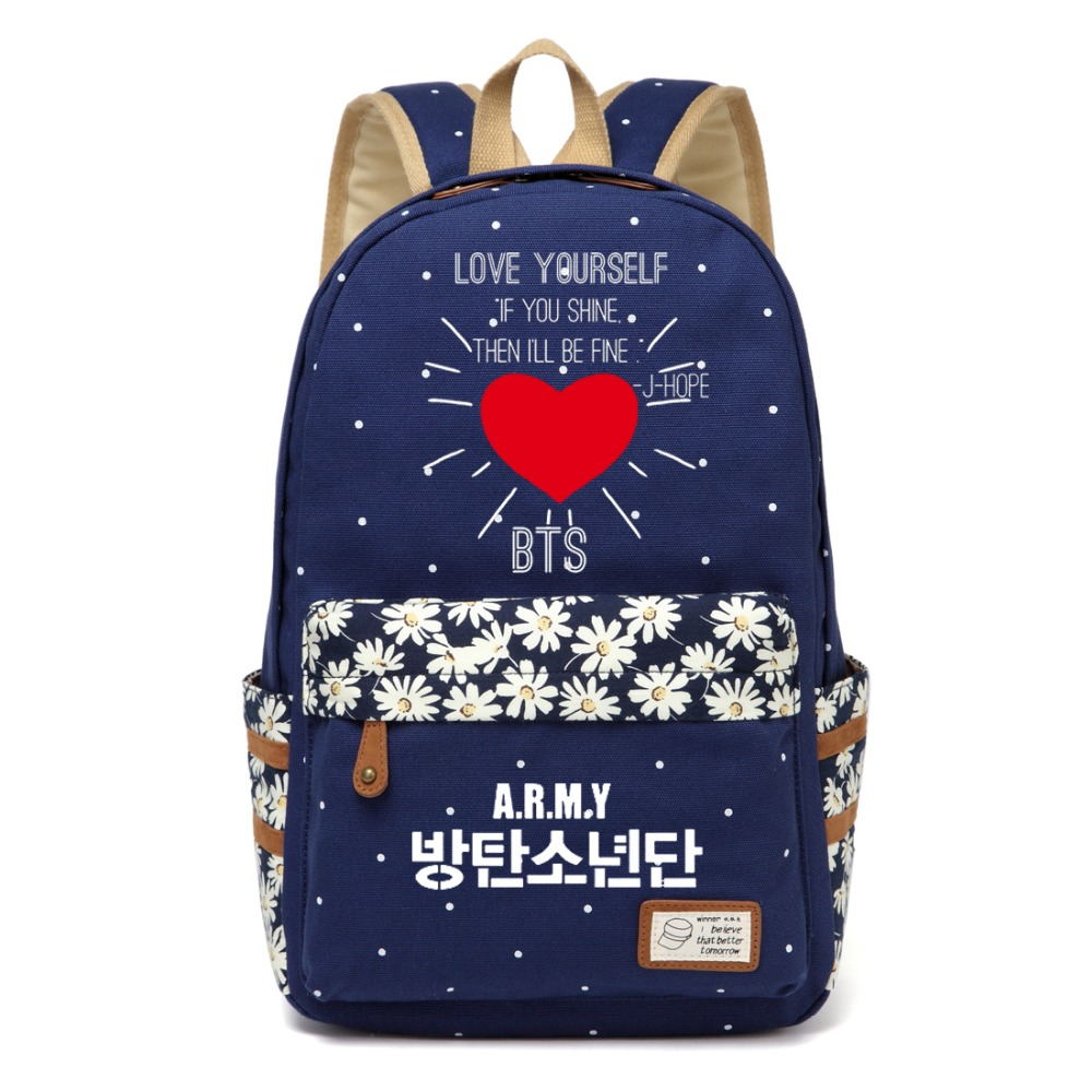 Wishot Bangtan Kpop Canvas Bag Flower Wave Point Rucksacks Backpack Girls Boy Women School Travel Bags Love Yourself Kids & Baby's Bags