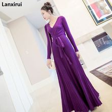 womens dresses new arrival 2018 black / burgundy purple knitted dress sexy deep v neck tie belt long sleeve pleated maxi