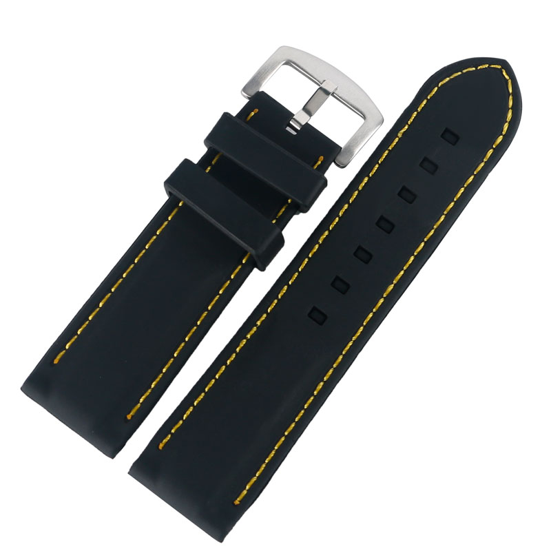Black Silicone Yellow Line Stitching Rubber Waterproof Outdoor Bracelet Watch Strap Wrist Band Replacement 20mm/22mm/24mm/26mm цена