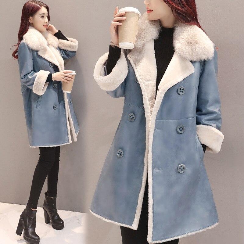 Veste Femmes Casual Ws2022 Sein Velours Feminino Chaud Du Inverno Double De Blue D'hiver Épais Parka Longue Casacos Manteau B1IwW