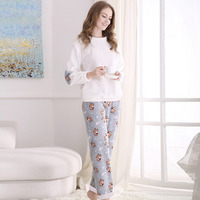 2017 Autumn Winter Flannel Couples Matching Pajamas Adult Full Sleeve Women Men Winter Pajama Sets Negligee