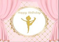 children kids backgrounds High quality Computer print Pink Curtain Gold Crown Striped Happy Birthday Ballet backdrop