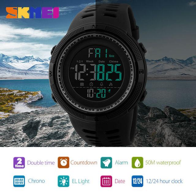 61abacc08cb SKMEI Men Sports Watches Countdown Double Time Watch Alarm Chrono Digital  Wristwatches 50M Waterproof Relogio Masculino 1251