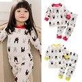 Детские Детские CottonAnimal Печатный Топы + Брюки Пижамы Установить Домашняя Одежда Пижамы