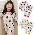 CottonAnimal Impresso Tops + Calças do miúdo do bebê Pijamas Set Homewear Sleepwear