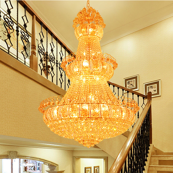 Large Gold Crystal Chandeliers Lights Fixture American Big Golden - Indoor Lighting