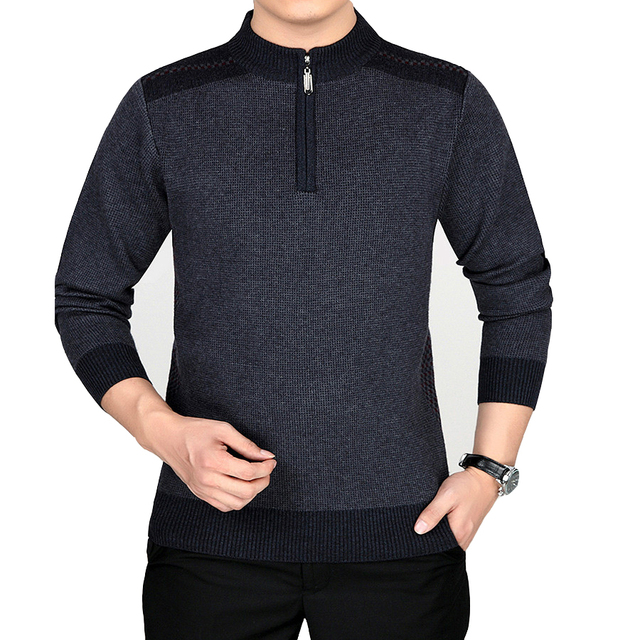 6fc8bc3fa448 New Fashion Style Male Sweaters Zipper Mandarin Collar Good Quality Men  Pullovers Casual Wear Solid Full