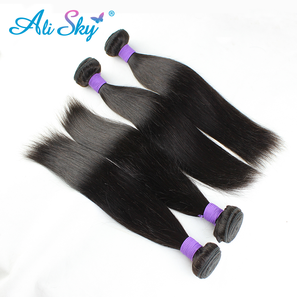 3 Bundles Remy Peruvian Straight 100% Human Hair Weaves Extensions Natural Color No Tangle No Shedding Ali Sky Can Be Dyed