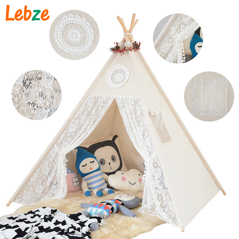 Four Poles Children Teepees Lace Cream Tent For Girls Kids Play Tent Cotton & Lace Tipi For 0-12 Baby Ins Hot beyou lovely pink blue cloud design 4 poles kids teepees oy tent for children girls play tent canvas folding tipi by0119