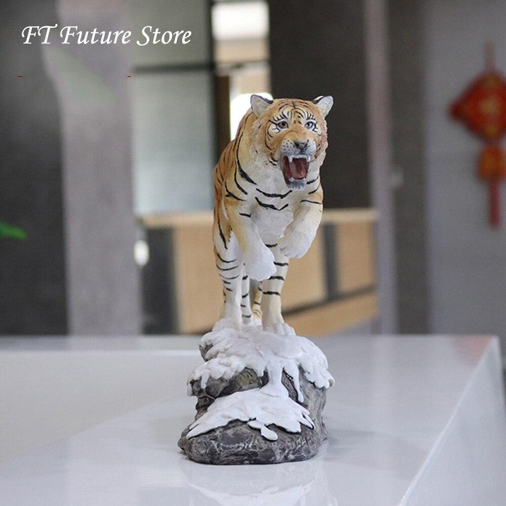 À collectionner 1/10 échelle neige tigre blanc Simulation nord-est tigre décoration artisanat Figure modèle jouets en boîte pour les Fans cadeaux