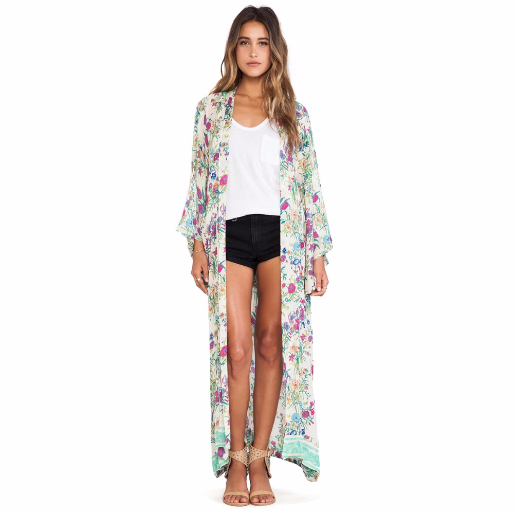 PUSEKY Boho Long Kimono Cardigan Summer Beach Wear Casual Loose ...