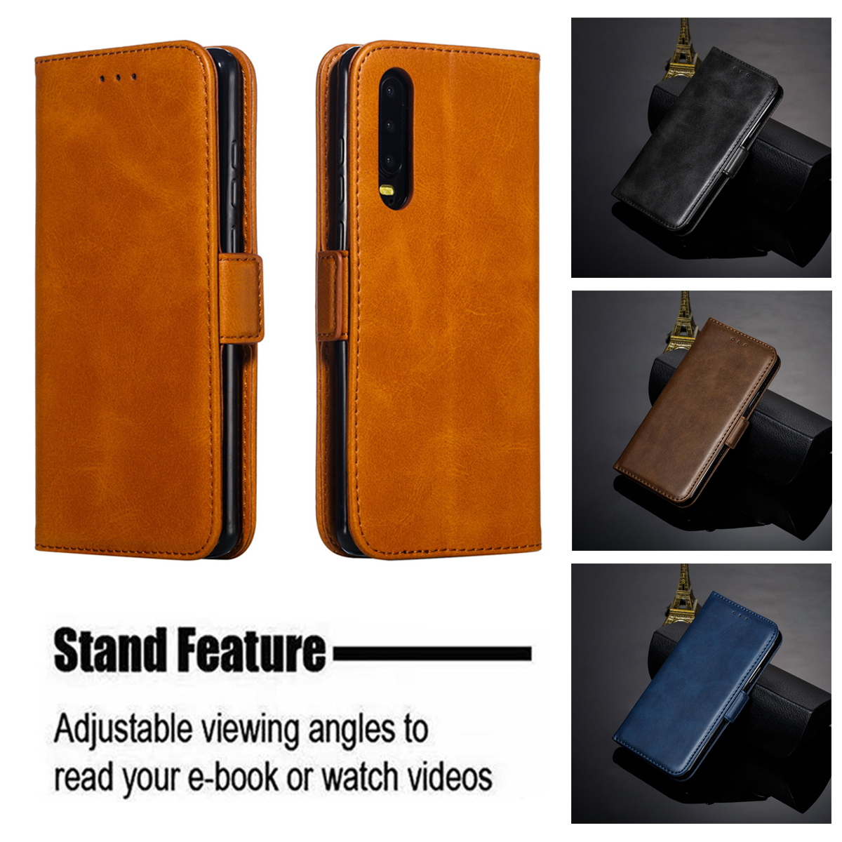 Flip Cover 360 Case for Huawei P20 P30 P10 Lite Luxury Solid Color Leather for Huawei Mate 20 10 Pro Lite Retro Card Slot Wallet