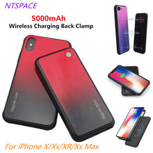 NTSPACE 5000mAh Fashion Wireless Magnetic Battery Charging Case For iPhone X/Xs/XR/Xs Max Portable Power Bank