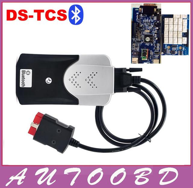 NEC Relé Placa Azul PCB 2014 Qualidade A + TCS CDP R2 DVD PRO Além de Bluetooth + Firmware 1423 OBD II ferramenta de Diagnóstico de Carros Caminhões 3in1