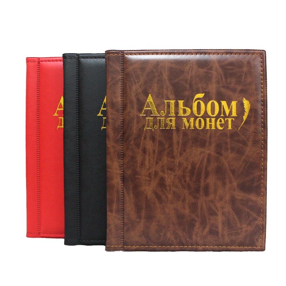 Álbum de moedas 10 páginas caber 250 unidades coleção de moedas livro língua russa