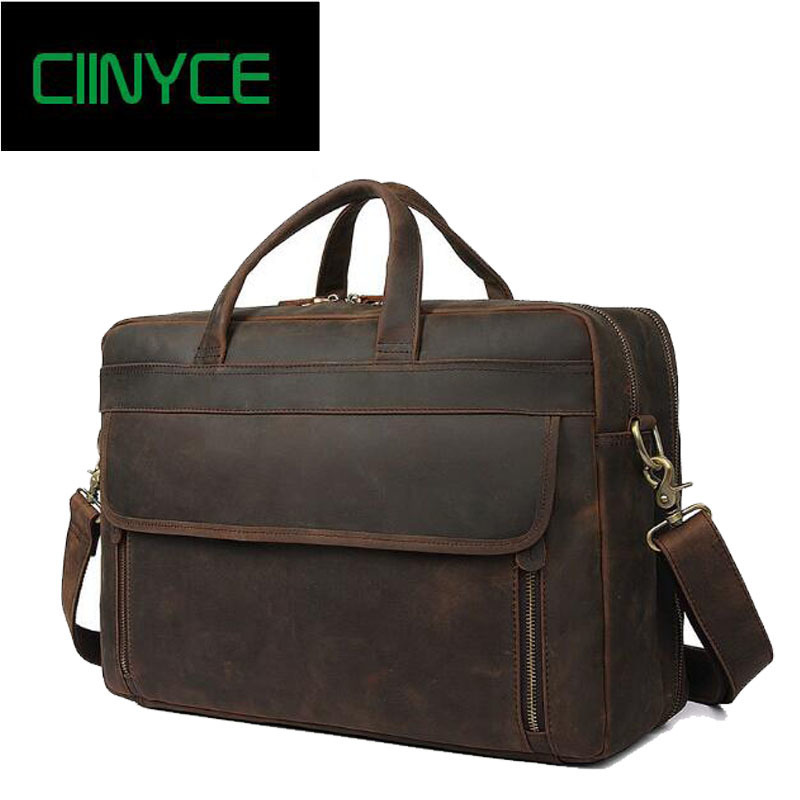 купить Vintage Crazy Horse Genuine Leather Brief case men Business Briefcase Cow Skin 17