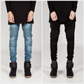 Personality patchwork locomotive jeans motorcycle  jeans men cotton pencil men jeans fashion street style skinny jeans men