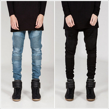 Personality patchwork locomotive jeans motorcycle jeans men cotton pencil men jeans fashion street style skinny jeans