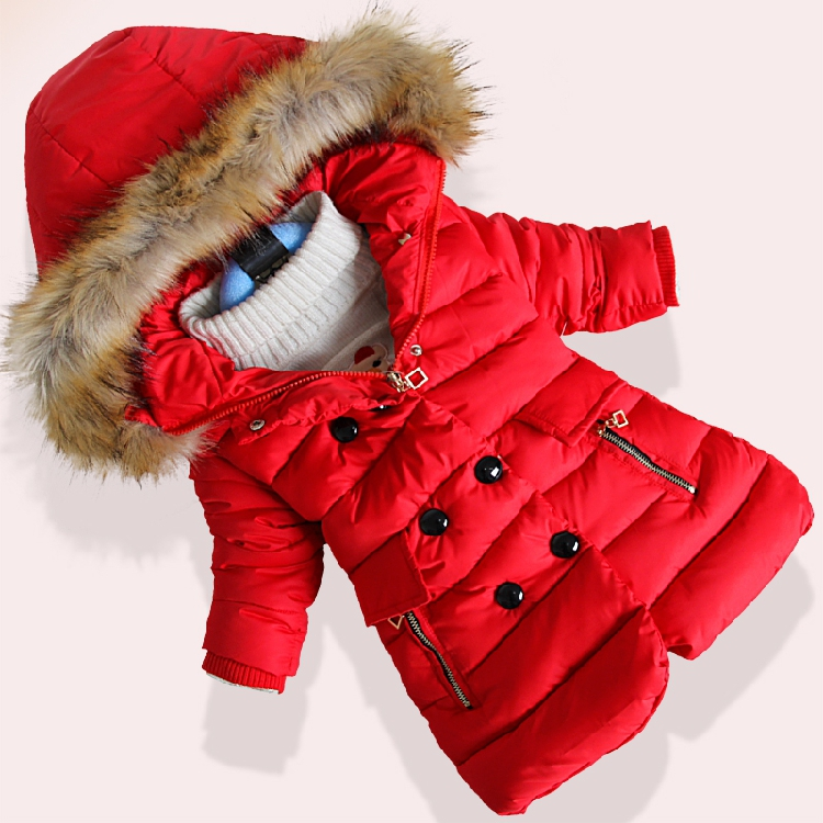 2016 New Styles Children's Fashion Hats Coat Girls Winter Warm Coats Children Inverno Long Thick Padded Cotton-padded Clothes yagenz 2017 new feather cotton coats winter korean version of the long section of the big hair collar loose thick cotton coat